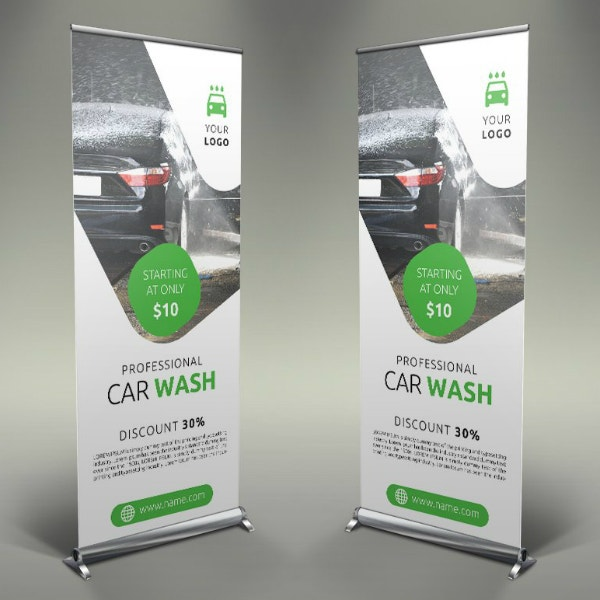 Professional Car Wash Roll-Up Banner