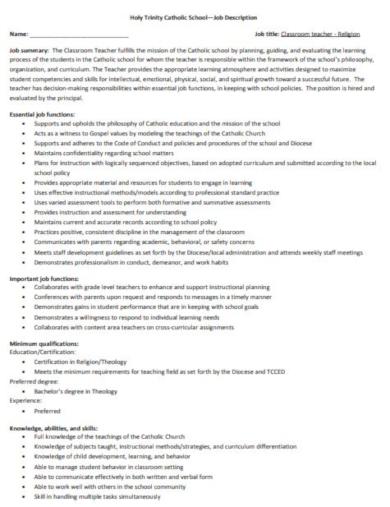 professional classroom teacher job description