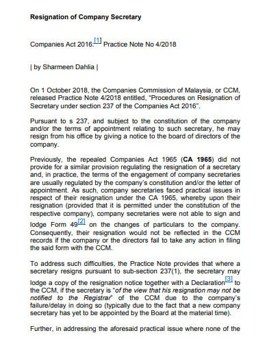professional-company-secretary-resignation