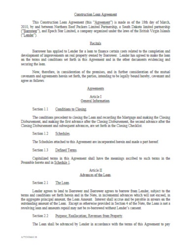 professional construction loan agreement template
