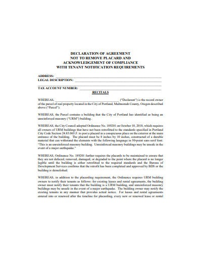 professional declaration agreement agreement