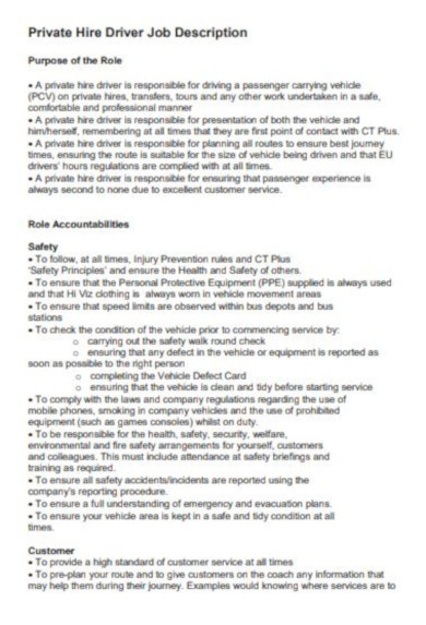 professional driver job description template