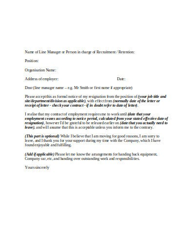 professional employment resignation letter