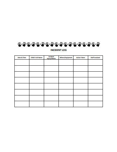 professional incident log template