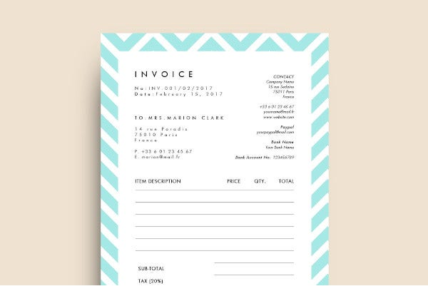 professional invoice receipt template for word
