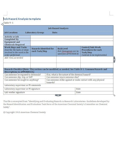 professional job hazard analysis template