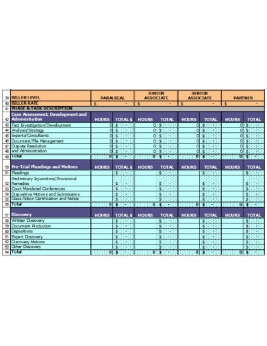 professional legal department budget template