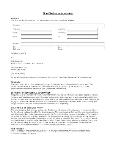 professional non disclosure agreement template