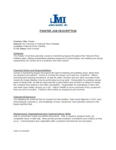 9+ Painter Description Templates - PDF | Free & Premium