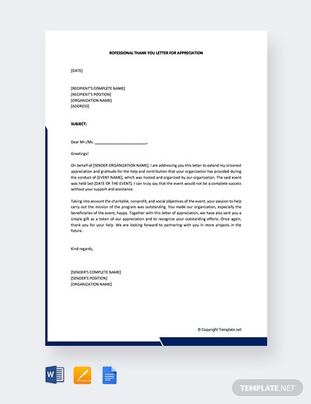 professional thank you letter of appreciation