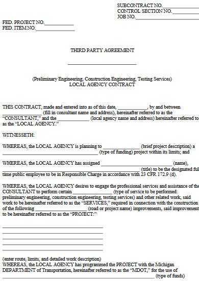professional third party construction agreement