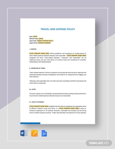 professional travel and expense policy template