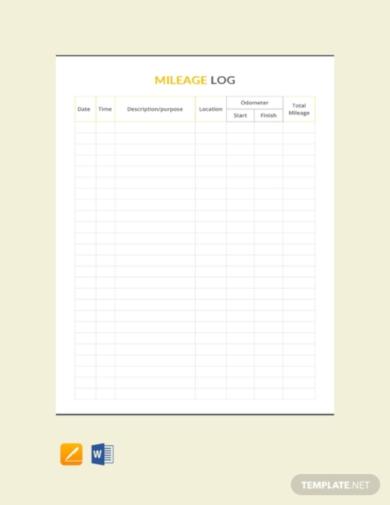 professional travel log sheet template