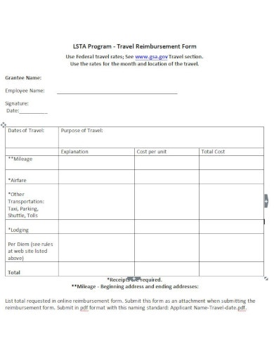 professional travel reimbursement format