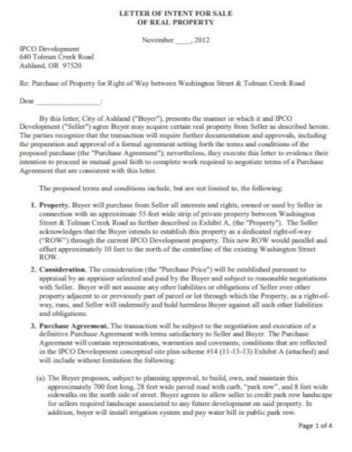 professional real estate letter of intent template2