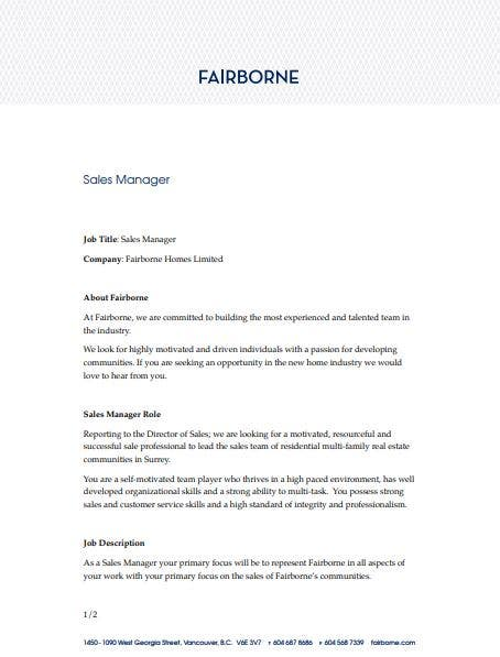 professional real estate sales manager job description template
