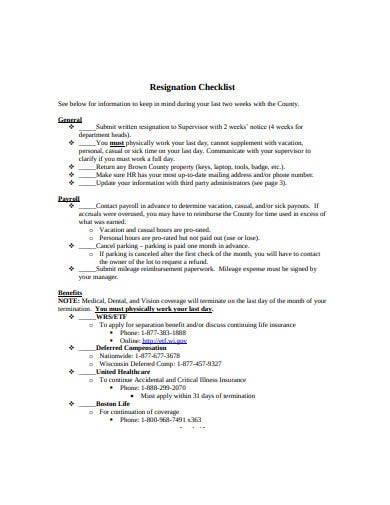 proffesional resignation checklist template