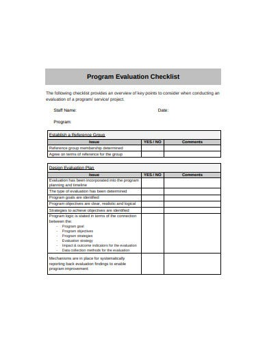 program evaluation checklist template