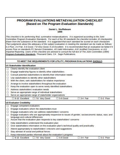 program evaluation checklist in pdf