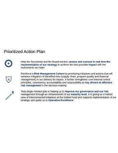 project action plan strategy example