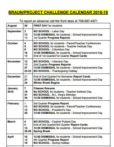 project calendar format