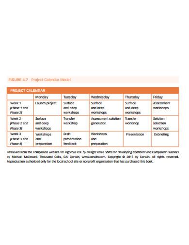 project calendar model