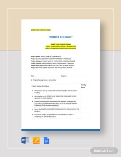 project checklist template