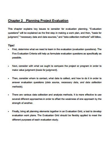 project evaluation planning example
