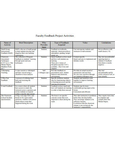 project feedback from faculty