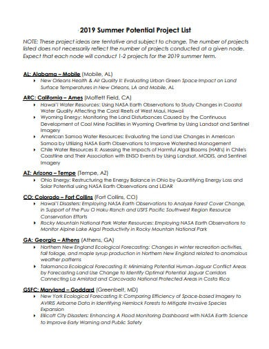 project potential list template