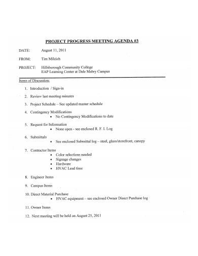 project progress meeting agenda template