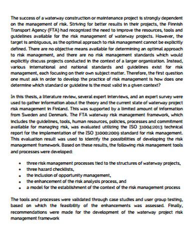 project risk management development