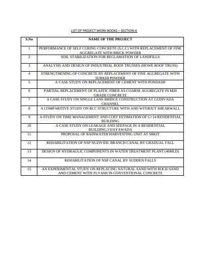 project work book list template