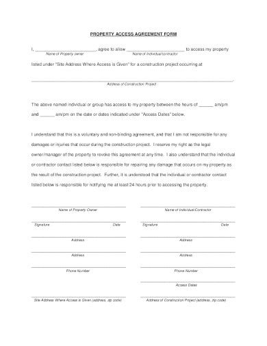 property access agreement form template