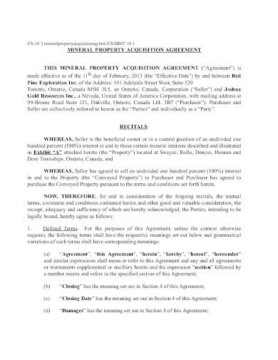 property acquisition agreement template