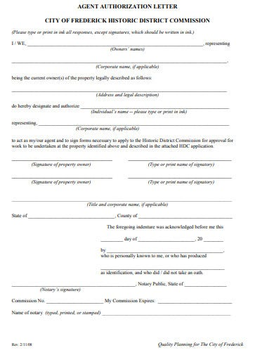property agent authorization letter template