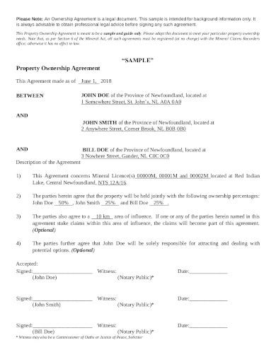 property ownership agreement template
