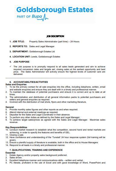 property sales administrator job description template