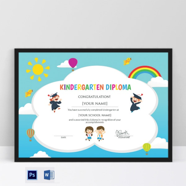 rainbow kindergarten graduation certificate sample