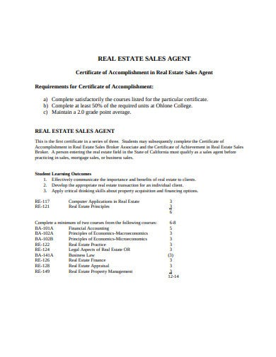 real estate certificate format