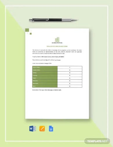 real estate disclosure form template