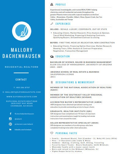 real estate resume example