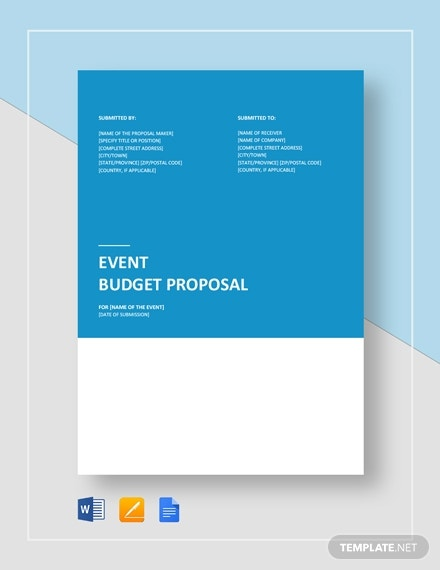 realistic event budget proposal format
