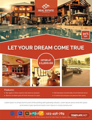 red real estate flyer template