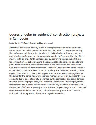 residential construction project schedule