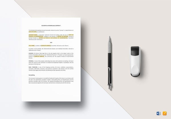 residential remodeling construction agreement template example