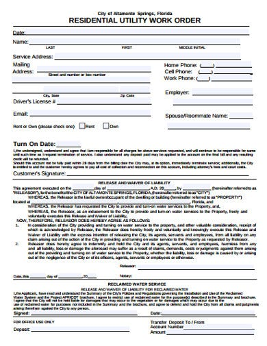 residential utility work order example
