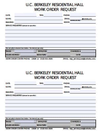 residential work order template