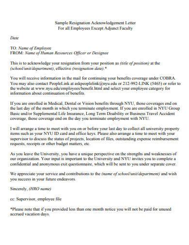 resignation acknowledgement letter