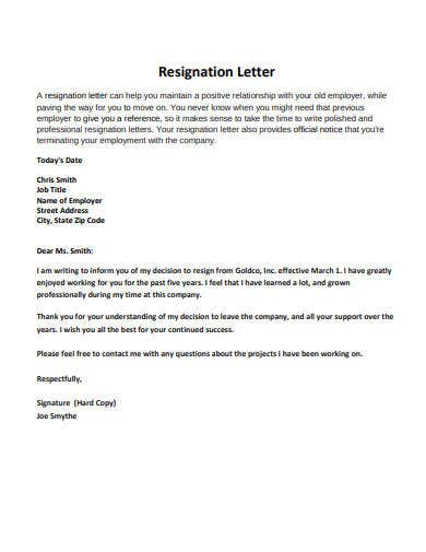 resignation letter example in pdf